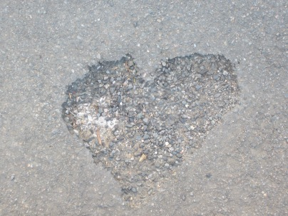 Heart on the pavement, Figeac, France.